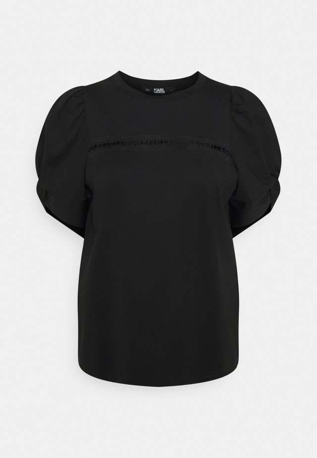 PUFFY SLEEVE EMBROIDERY - T-shirt basique - black