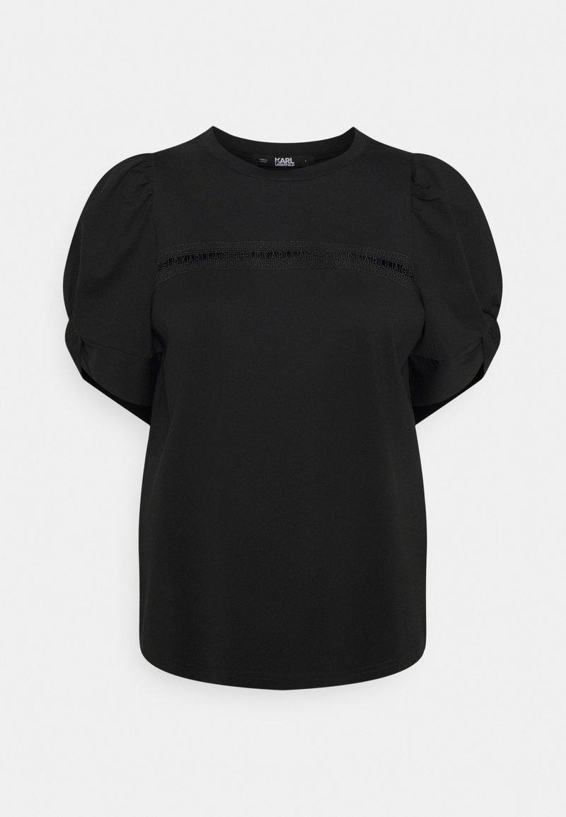 KARL LAGERFELD - PUFFY SLEEVE EMBROIDERY - Jednoduché triko - black