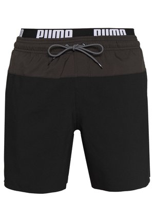SWIM MEN LOGO MEDIUM LENGTH - Swimming shorts - black/grey