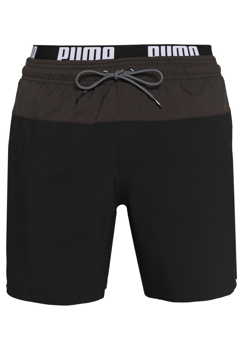 Puma - SWIM MEN LOGO MEDIUM LENGTH - Swimming shorts - black/grey