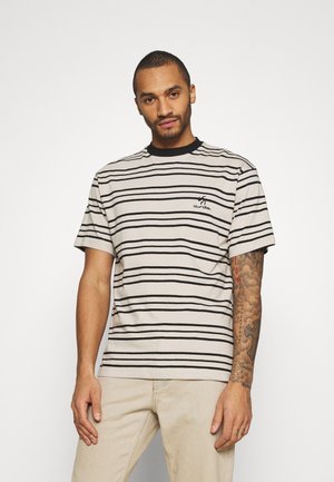 UNISEX SWEET LOOSE STRIPED TEE - Triko s potiskem - ecru/black