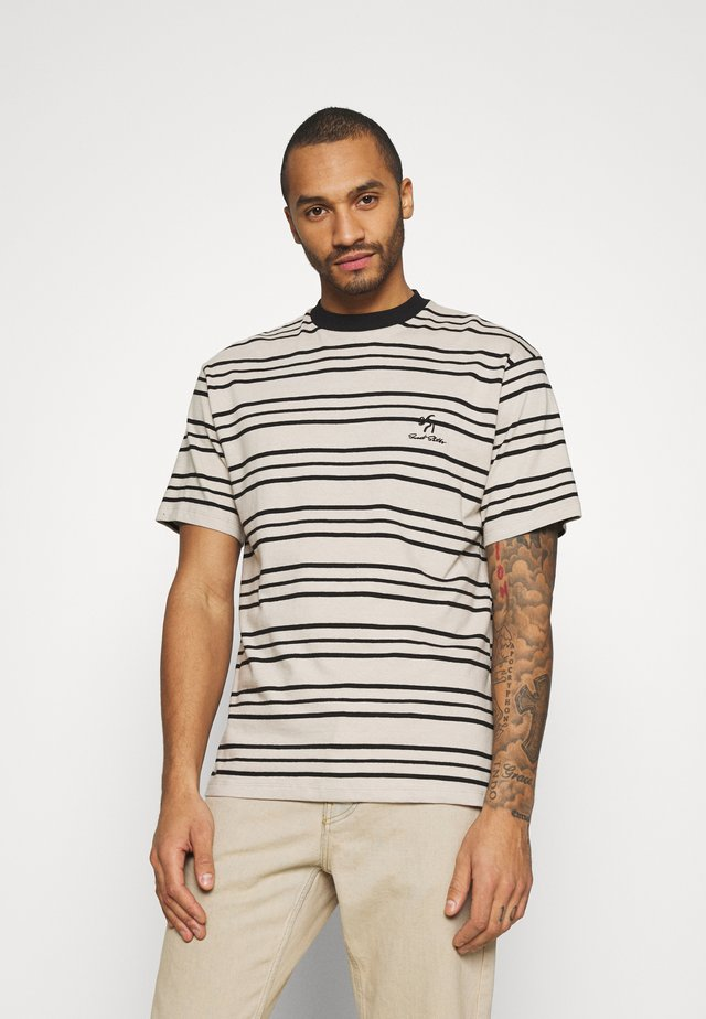 UNISEX SWEET LOOSE STRIPED TEE - Print T-shirt - ecru/black