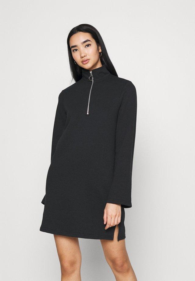 SWEAT HIGH NECK MINI DRESS WITH HALF ZIP THROUGH - Vapaa-ajan mekko - black