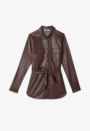 Faux leather jacket - dark brown