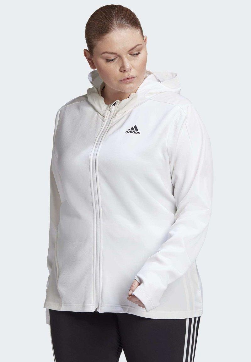 adidas Performance - AEROREADY KNIT JACKET (PLUS SIZE) - Chaqueta de entrenamiento - white