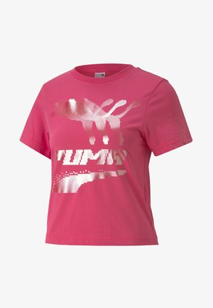EVIDE GRAPHIC TEE - Print T-shirt - glowing pink