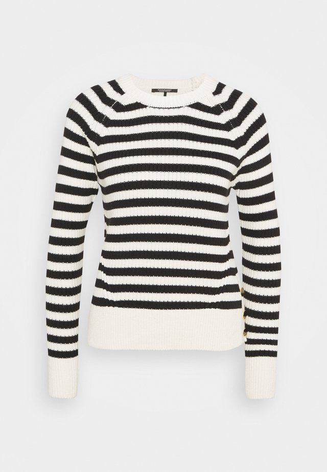 CHUNKY BLEND WITH BUTTON DETAIL AT SIDE - Jersey de punto - off-white/black