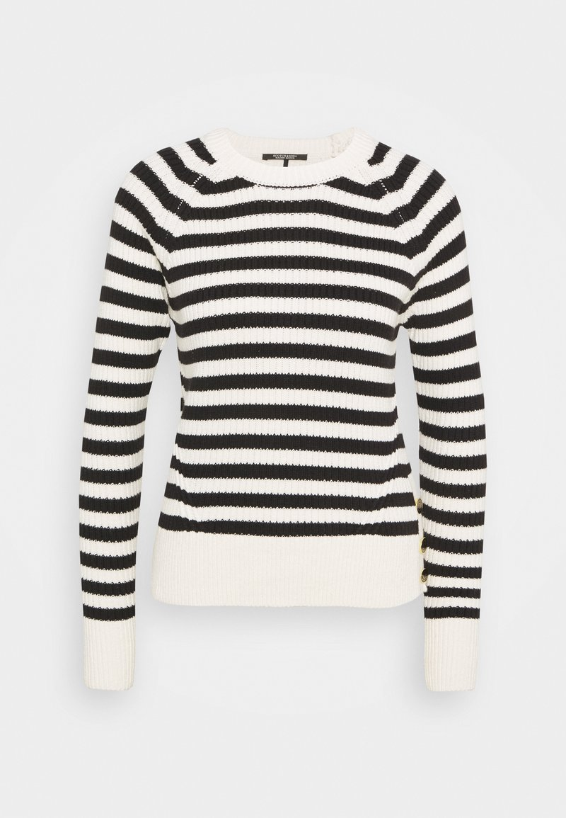 Scotch & Soda - CHUNKY BLEND WITH BUTTON DETAIL AT SIDE - Jumper - off-white/black