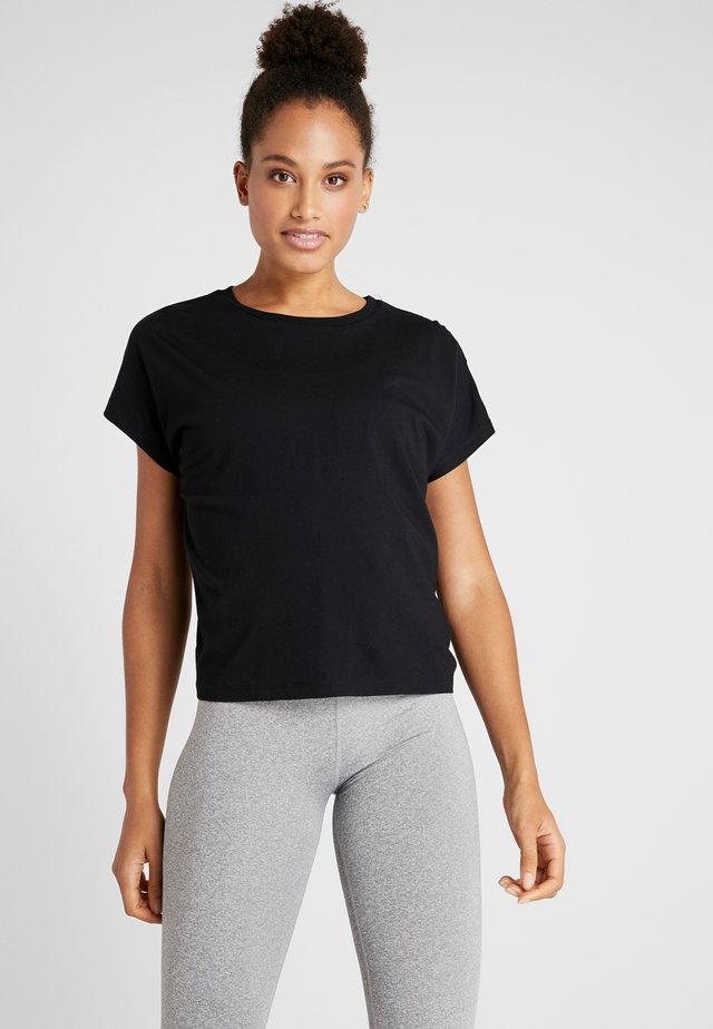 DROP SLEEVE TIE BACK - Print T-shirt - black