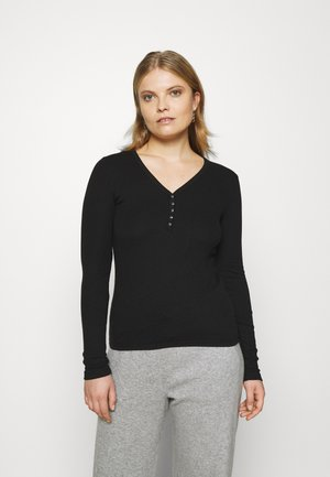 HENLEY - Long sleeved top - true black