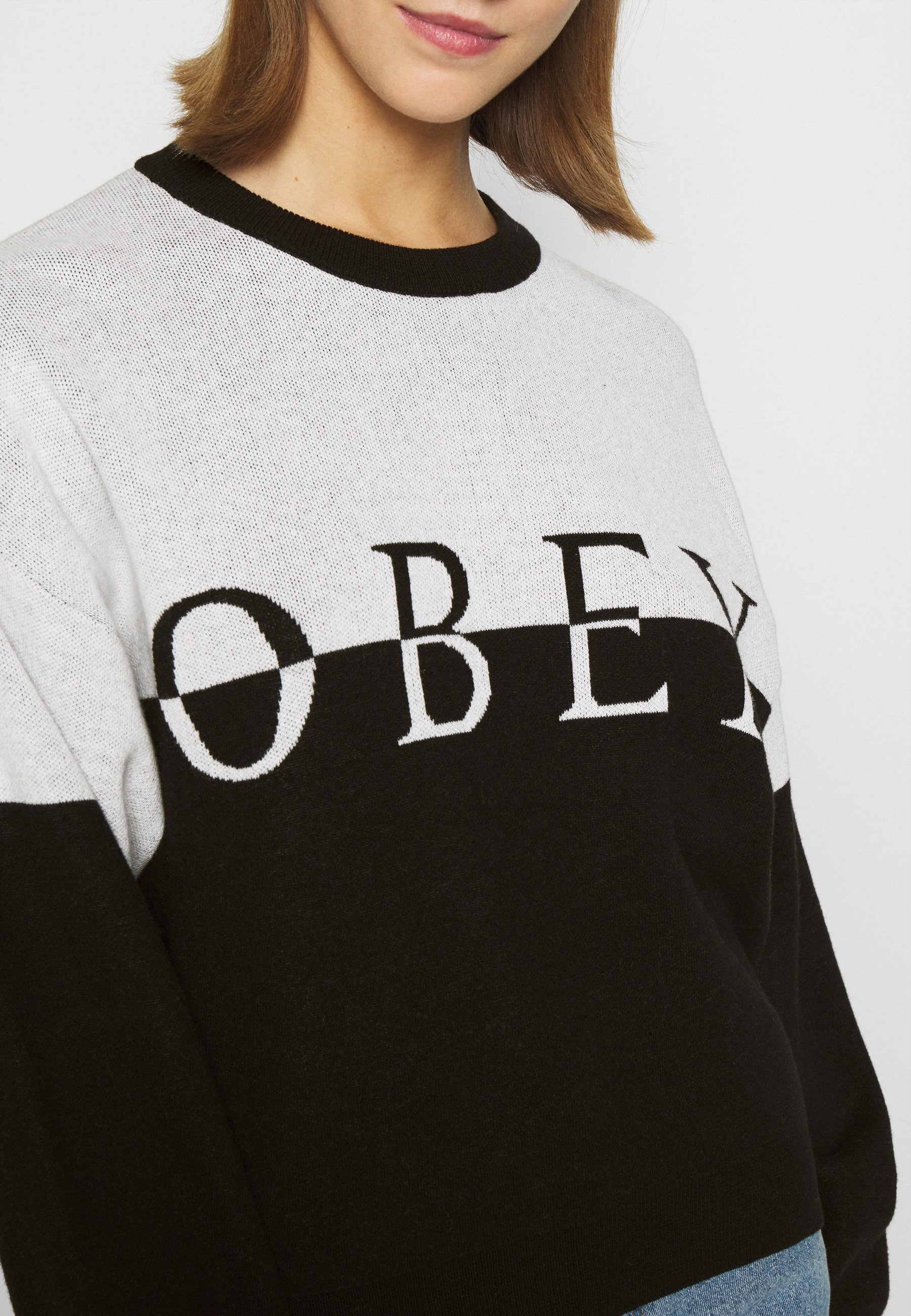 Obey Clothing LEFT BANK CREW Trui creamblackZwart