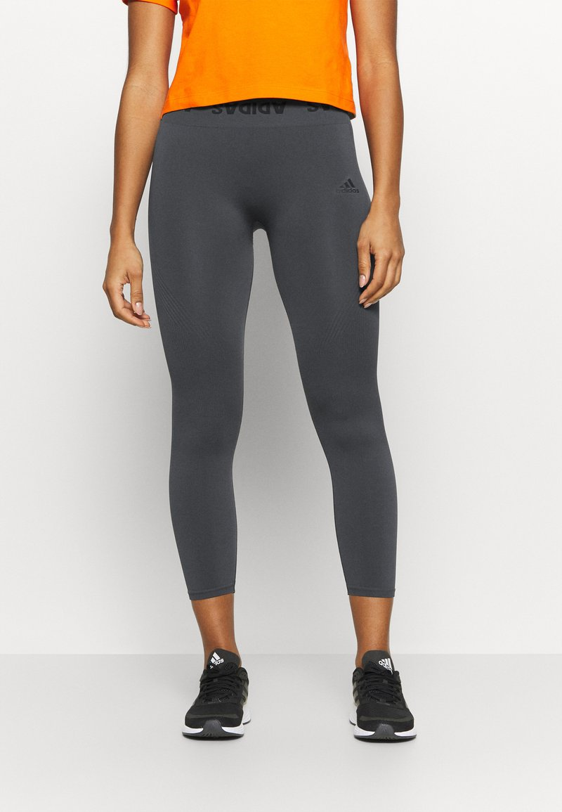 adidas Performance - AEROKNIT 7/8 T TRAINING WORKOUT DESIGNED4TRAINING PRIMEGREEN LEGGINGS FITTED - Tights - solid grey