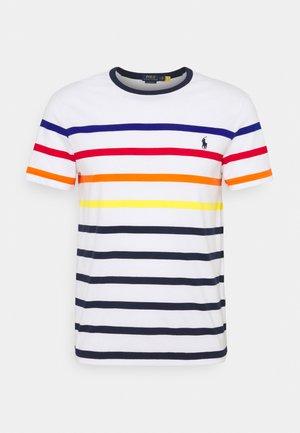 SLIM FIT STRIPED CREWNECK - Print T-shirt - white multi