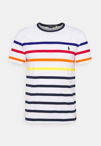 CUSTOM SLIM FIT STRIPED CREWNECK T-SHIRT - T-shirts med print - white multi