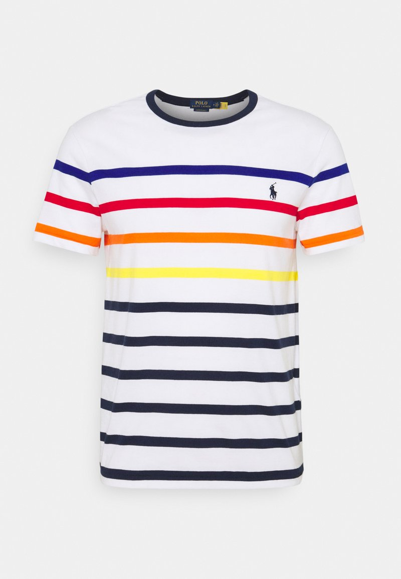 Polo Ralph Lauren - CUSTOM SLIM FIT STRIPED CREWNECK T-SHIRT - Print T-shirt - white multi