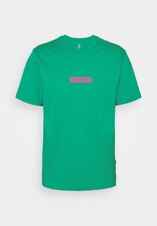 Converse STAR CHEVRON BOX SHORT SLEEVE TEE - T-shirt z nadrukiem - court green/turkusowy Odzież Męska JSEN