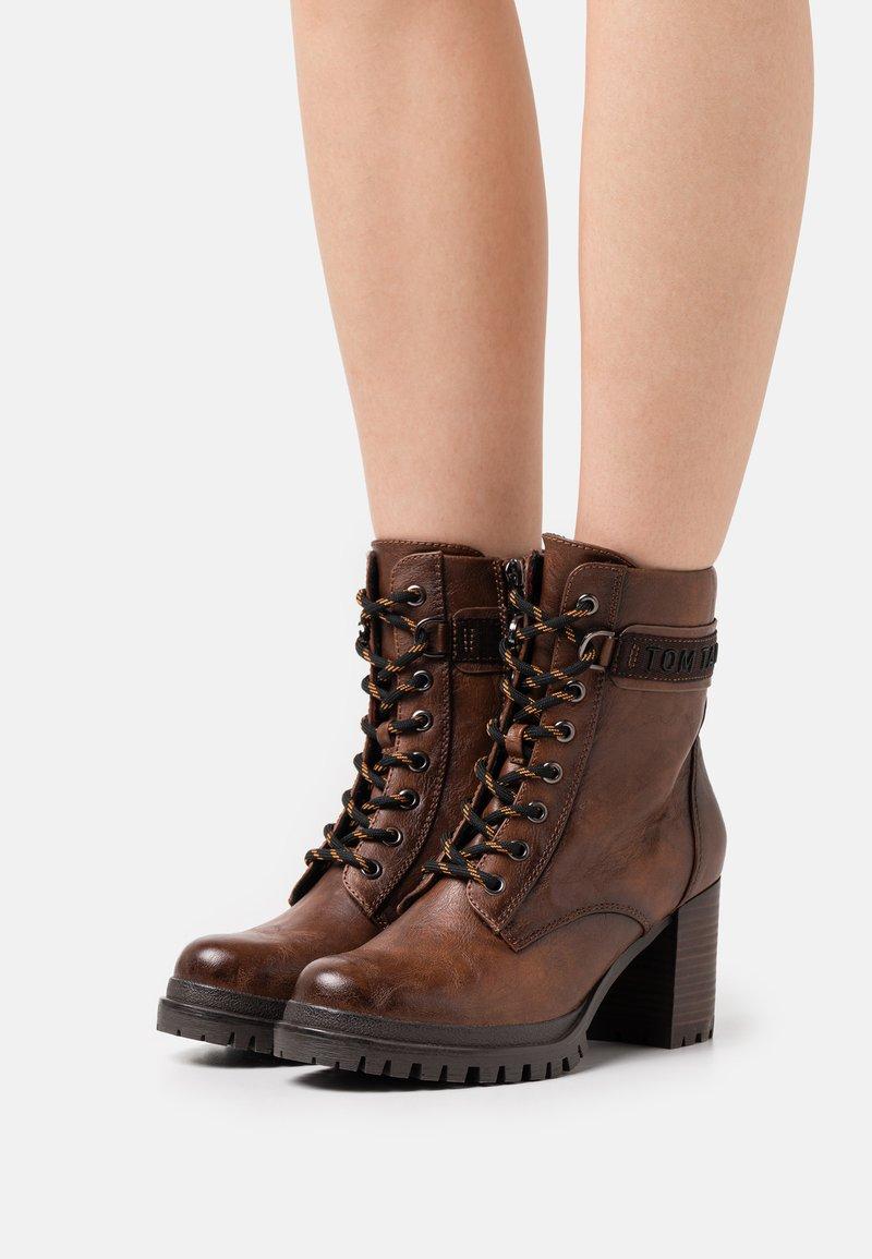 TOM TAILOR - Platform ankle boots - cognac