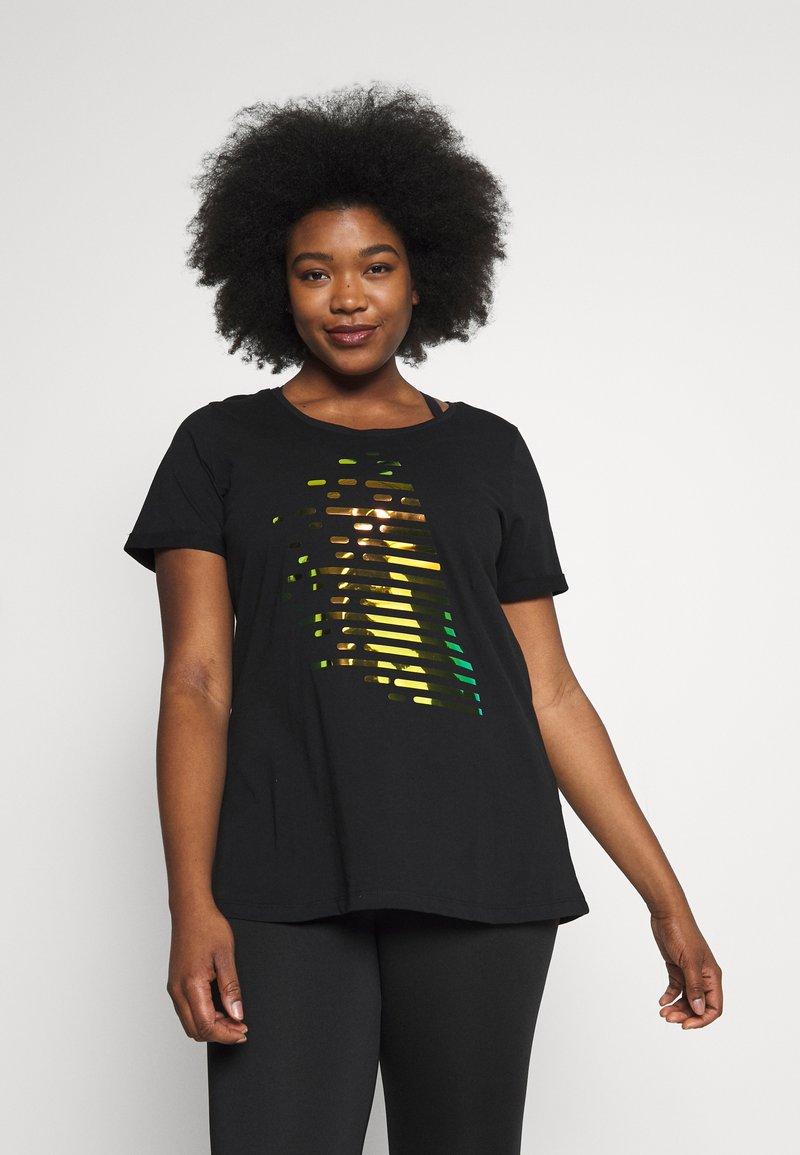 Active by Zizzi - AZIZZI LOGO - Camiseta estampada - black orange oil