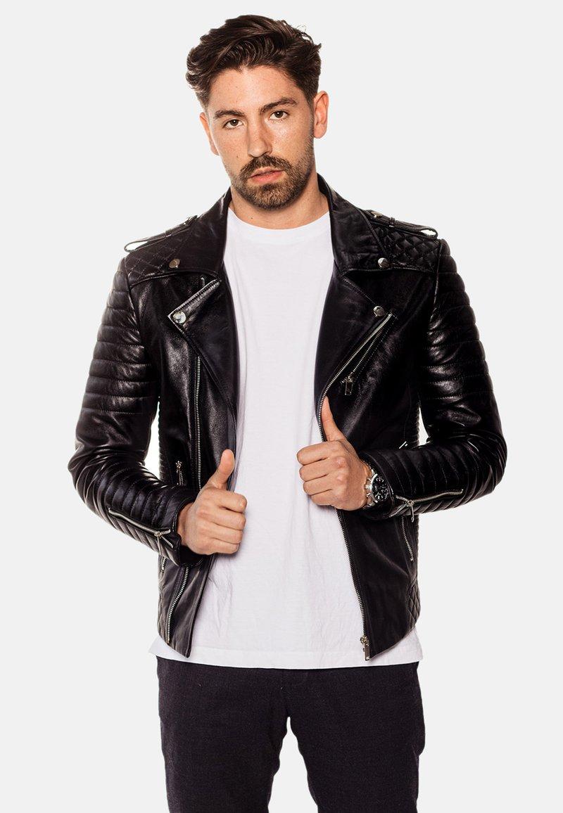 LEATHER HYPE - JORDAN PERFECTO - Leather jacket - black