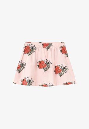 FLOWERS - A-lijn rok - light pink/red