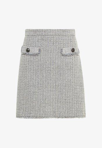 MIT STRASSKNÖPFEN - A-line skirt - silbergrau