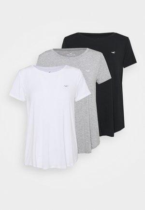 EASY CREW 3 PACK - Triko spotiskem - white/grey/black