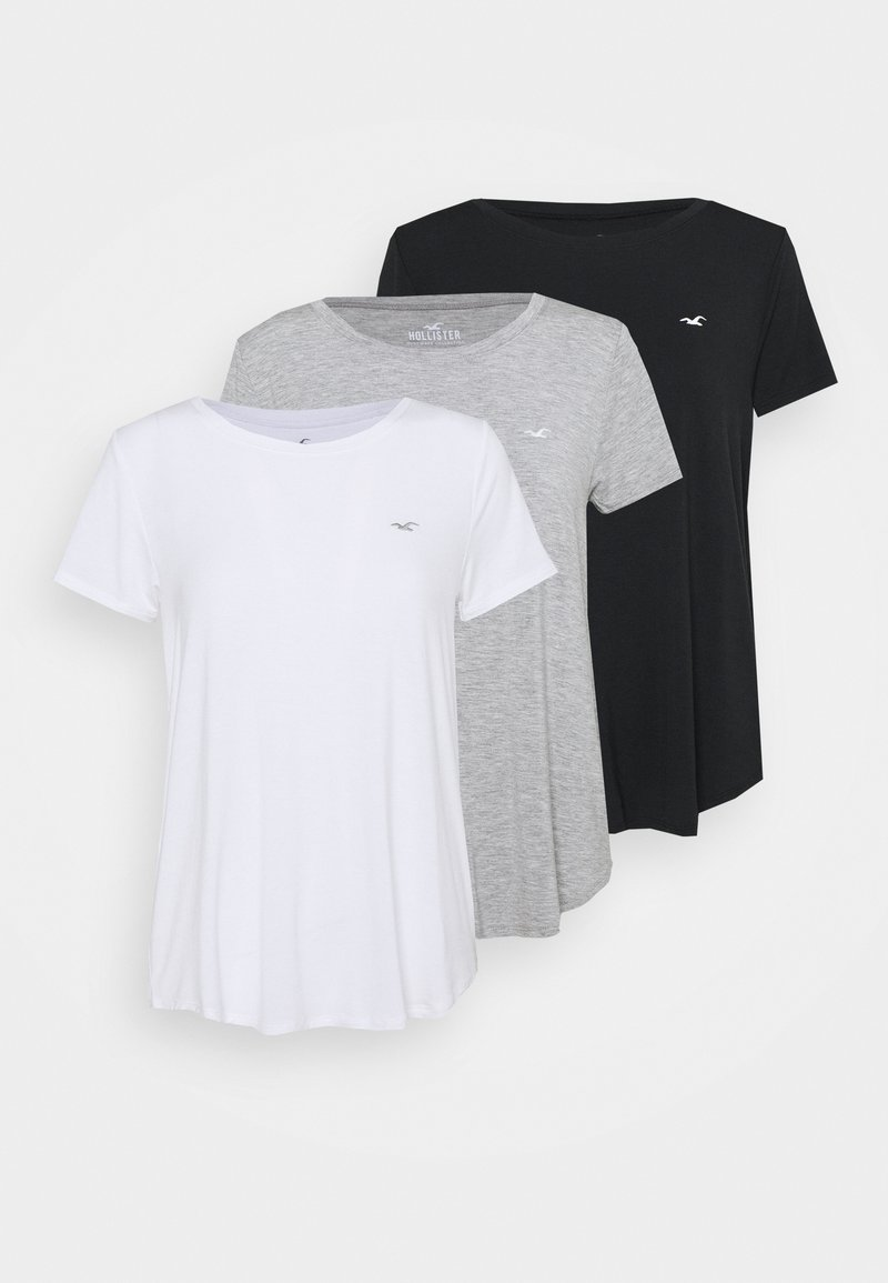 Hollister Co. - EASY CREW 3 PACK - Triko s potiskem - white/grey/black