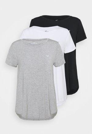 EASY CREW 3 PACK - T-shirt med print - white/grey/black