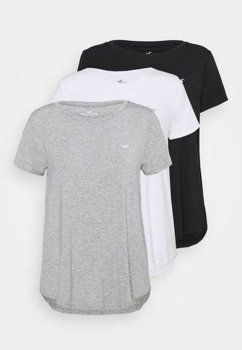 EASY CREW 3 PACK - T-shirts med print - white/grey/black