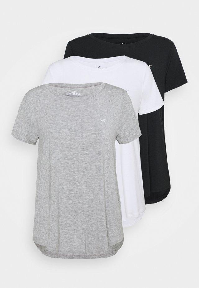 EASY CREW 3 PACK - Print T-shirt - white/grey/black