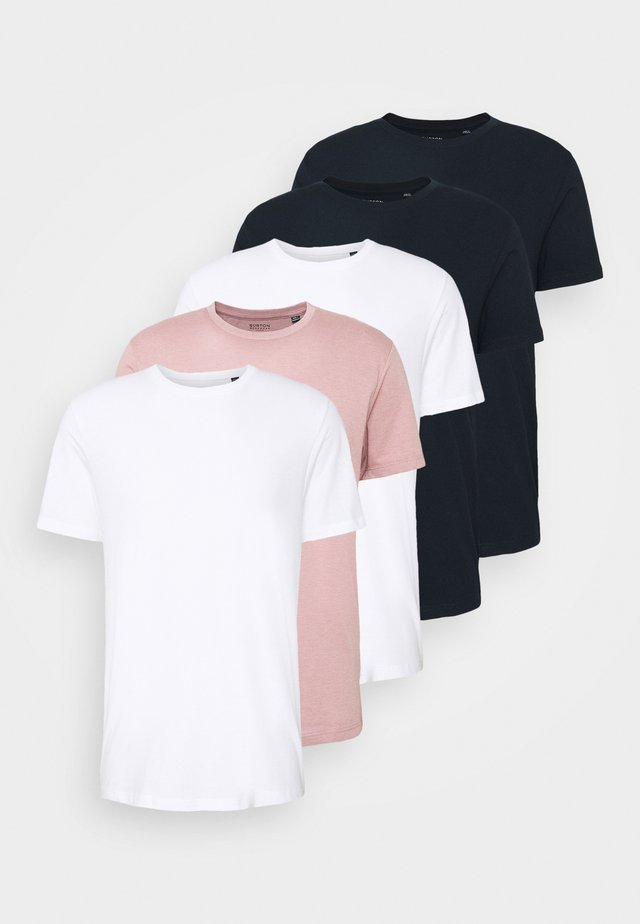 5 PACK - Basic T-shirt - navy/white/pink