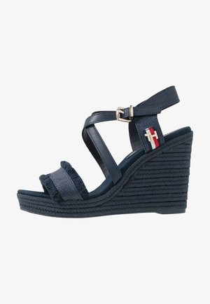 FRINGES HIGH WEDGE  - Sandaler med høye hæler - sport navy