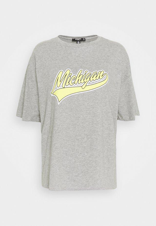 MICHIGAN DROP SHOULDER - T-shirt z nadrukiem - grey marl