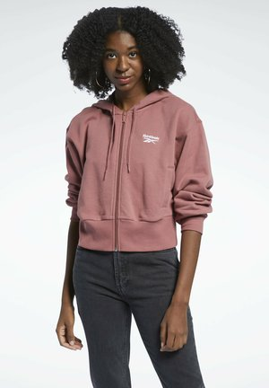 CLASSIC SMALL LOGO FULL ZIP FOUNDATION CASUAL HOODIE - Collegetakki - red