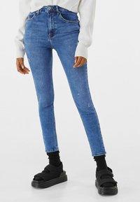 Bershka - SUPER HIGH WAIST - Jeans Skinny Fit - dark blue - 0
