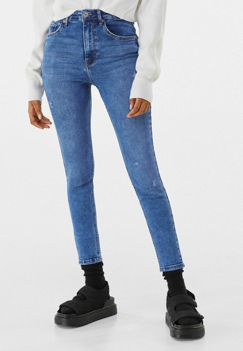 Bershka - SUPER HIGH WAIST - Jeans Skinny Fit - dark blue