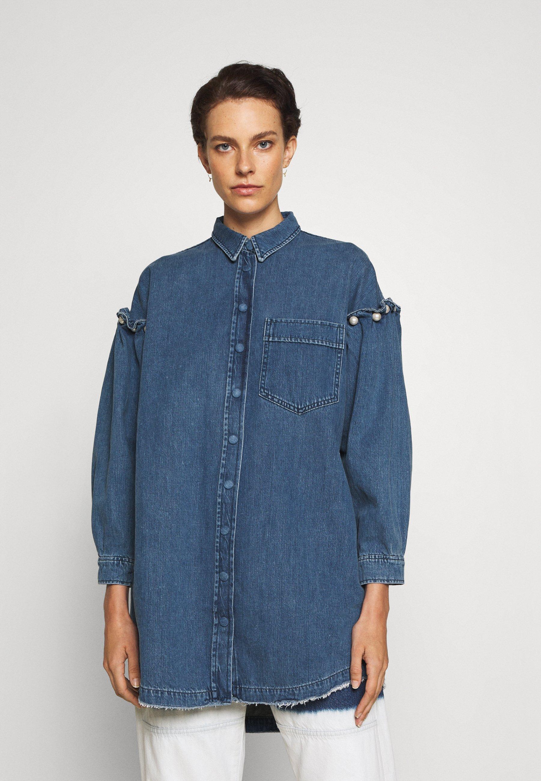 Women SHIRT DRESS WITH PEARL SHOULDER - Denim dress