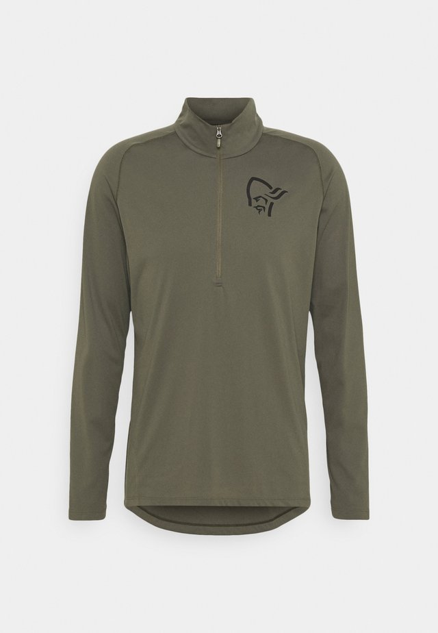 FJØRÅ EQUALISER LONG SLEEVE ZIP - Long sleeved top - olive night/caviar