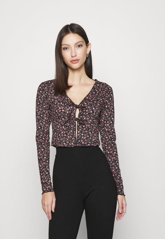 TIE FRONT CARDI - Long sleeved top - black