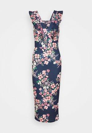 FRILL PRINT MIDI - Jersey dress - navy blue