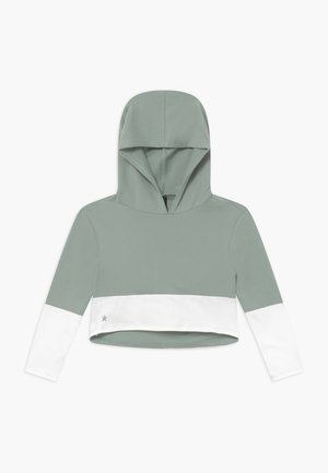 GIRLS COLOR BLOCK HOODIE - Felpa con cappuccio - sage green/white