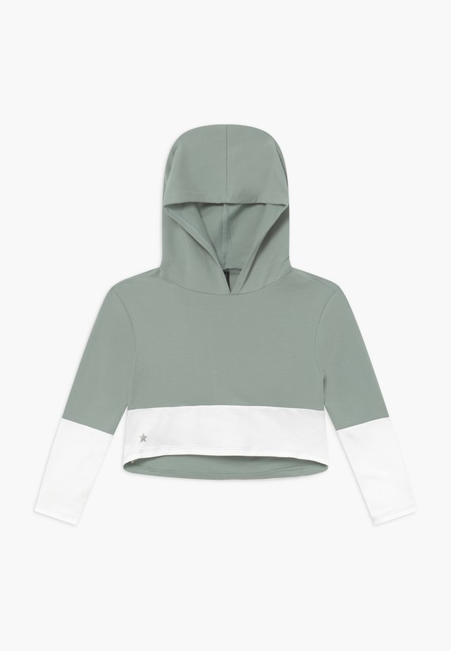 GIRLS COLOR BLOCK HOODIE - Jersey con capucha - sage green/white