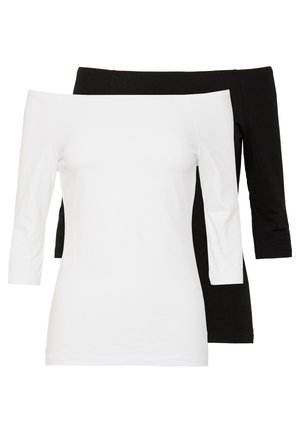 2 PACK  - T-shirt à manches longues - white/black