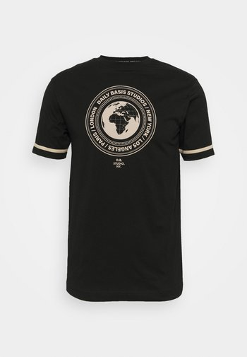 CIRCLE GLOBE TEE UNISEX - T-shirt z nadrukiem - black