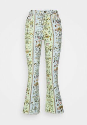 Flared Jeans - blue bell/pink confetti/light green