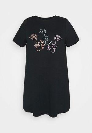 SCRIBBLE FACE LONGLINE - Print T-shirt - black