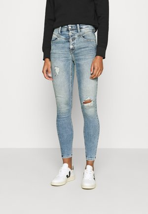 HIGH RISE SUPER SKINNY ANKLE - Jeansy Skinny Fit - denim light