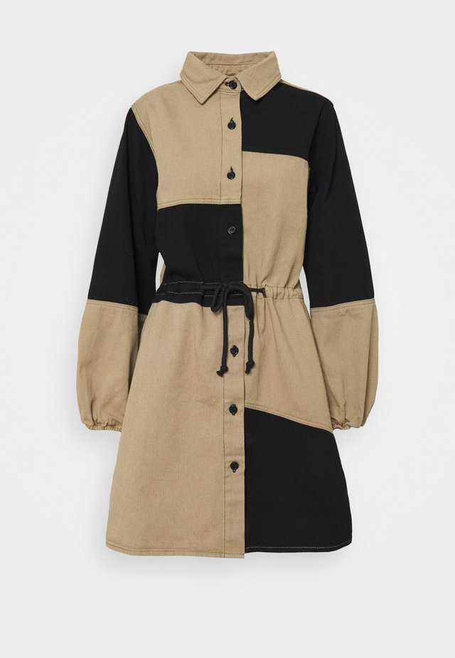 DENIM DRESS - Shirt dress - black/beige
