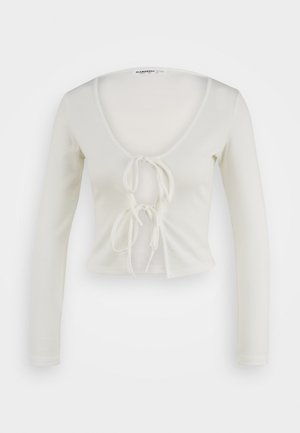 LONG SKINNY FIT SLEEVE V-NECK TIE FRONT BODYCON TOP - Chaqueta de punto - off white