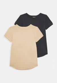 Cotton On - CRUZ LONG LINE SHORT SLEEVE TEE 2 PACK - Basic T-shirt - phantom/semolina - 0
